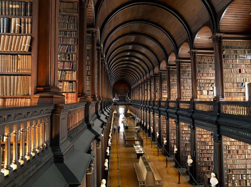 Long room of the library at Trinity College Dublin